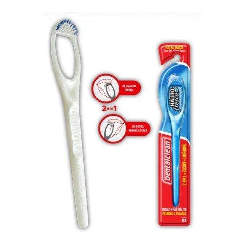 Limpador de Lingua Com Cerdas - Dental Clean Amarelo
